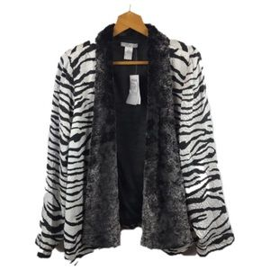 NWT Alberto Makali Zebra Print Fur Trimmed Jacket